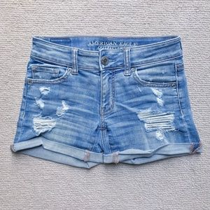 American Eagle Distressed Denim Shorts - size 0
